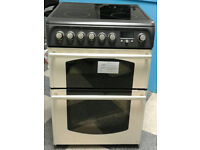 r291 cream hotpoint 60cm double oven ceramic hob electric cooker new with manufacturers warranty
