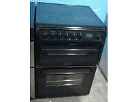 b691 black hotpoint 60cm double electric cooker comes with warranty can be delivered or collected