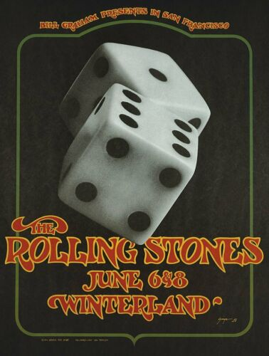 The Rolling Stones Bill Graham Winterland 1972 Concert Poster