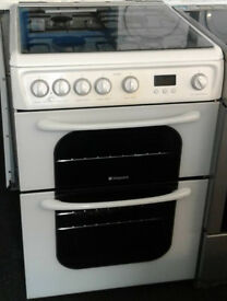 I378 white hotpoint 60cm double oven gas cooker comes with warranty can be delivered or collected