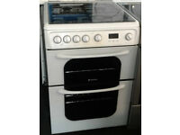 Z378 white hotpoint 60cm double oven gas cooker comes with warranty can be delivered or collected