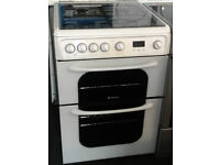 E378 white hotpoint 60cm double oven gas cooker comes with warranty can be delivered or collected