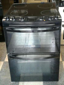 a728 black zanussi 60cm double oven ceramic hob electric cooker comes with warranty can be delivered