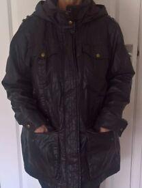 Ladies M&S Waxed/Hooded Parka Jacket