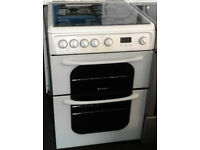 l378 white hotpoint 60cm double oven gas cooker comes with warranty can be delivered or collected