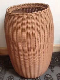 Vintage Tall Wicker Barrel Shaped Basket use for Laundry/Toys/Storage Etc.