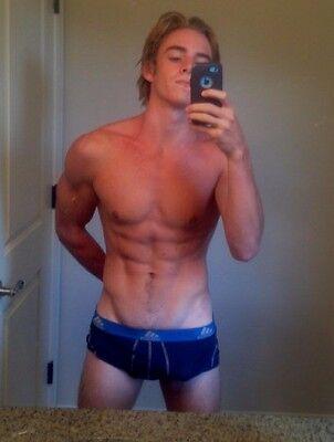 Shirtless Male Athletic Jock Muscular Shaggy Hair Gym Briefs PHOTO 4X6 F1977