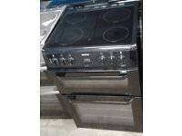 a129 black beko 60cm ceramic hob double oven electric cooker comes with warranty can be delivered