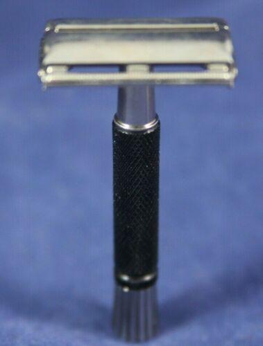 Vintage Gillette black handle super speed flare tip safety razor 1985 F-4