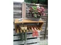 RUSTIC WALL HANGING WELLINGTON BOOT ORGANISER - WAS £39 NOW £29!!!!