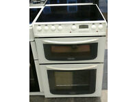 N225 white hotpoint 60cm ceramic hob double oven electric cooker comes with warranty