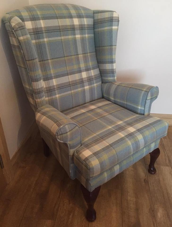 Wingback Tartan Chair Queen Anne Wing Back Arm Sofa