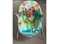Bright starts baby bouncer; suitable from birth. Soothing vibration function. Good condition