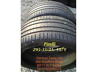 295-35-21 107Y Pirelli part worn tyres 5mm+ thread