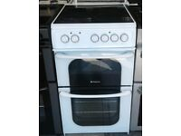a695 white hotpoint 50cm ceramic hob electric cooker comes with warranty can be delivered