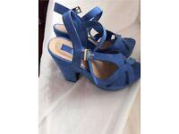 Woman's blue platform heels size 4