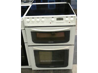 O225 white hotpoint 60cm ceramic hob double oven electric cooker comes with warranty can deliver