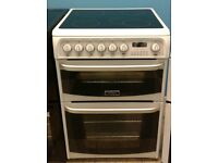 a591 white cannon 60cm double oven ceramic electric cooker with warranty can be delivered or collect