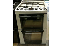 v495 silver zanussi 60cm double oven gas cooker comes iwth warranty can be delivered or collected