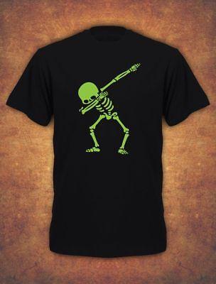 Skeleton Dab Halloween Skull Scary Costume Spooky Mens T-Shirt  Black Green ()