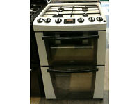 u495 silver zanussi 60cm double oven gas cooker comes with warranty can be delivered or collected