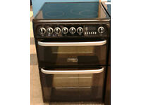 a593 black cannon 60cm double oven ceramic hob electric cooker comes with warranty can be delivered
