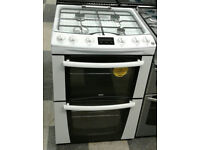 w497 white zanussi 60cm double oven gas cooker comes with warranty can be delivered or collected
