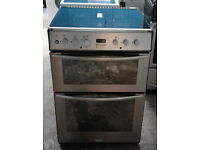 a506 stainless steel belling 60cm double oven dual fuel cooker comes with warranty can be delivered