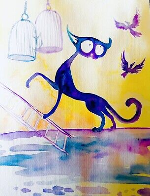 Sienna Mayfair Cat Art LARGE MAGNET Set Them Free - Bird Cages