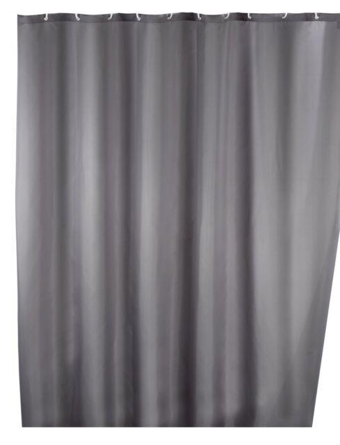 Wenko Anti-mould shower curtain single-colour Grey, washable, 180 x 200 cm