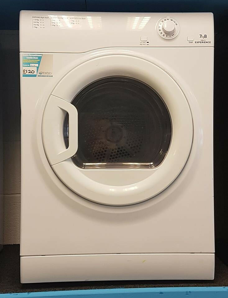H418 white hotpoint 7kg b rated vented dryer comes with warranty can be delivered or collected