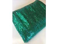 Rectangular green sequin table cloth for weddings