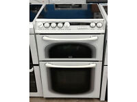 n133 white creda 60cm double oven ceramic hob electric cooker comes with warranty can be delivered