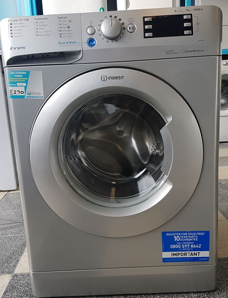 G544 NEW silver indesit 9kg 1400spin washing machine comes with warranty can be delivered