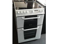 E433 white hotpoint 60cm double oven ceramic hob electric cooker comes with warranty can deliver