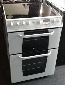 c433 white hotpoint 60cm double oven ceramic hob electric cooker come with warranty can be delivered