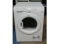 a028 white hotpoint 9kg B rated condenser dryer comes with warranty can be delivered or collected