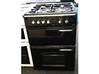 k349 black leisure 60cm double oven gas cooker comes with warranty can be delivered or collected