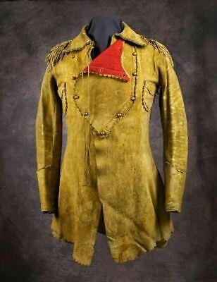 Men's Native American Rare Buckskin Leather Jacket Coat War Shirt Brand New  Native American War Shirts