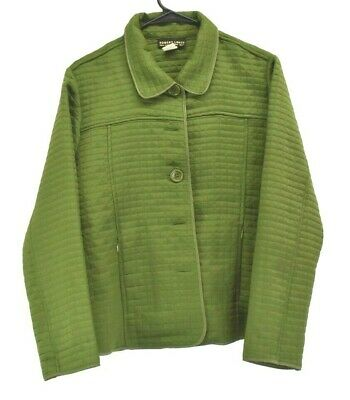 Robert Louis Womens Medium Jacket Quilted Button Up Casual Blazer Green ()
