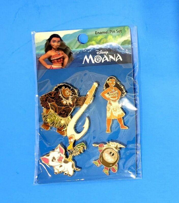 Disney Moana 4 Loungefly Pin Set, Moana, Maui, Hei Hei Pua & Kakamora