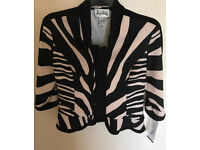 Brand New With Tags, Joseph Ribkoff nude and black evening summer jacket size 14