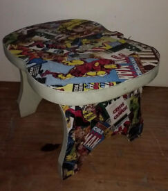 SMALL HEAVY STOOL/STEP DECOUPAGED IN MARVEL DESIGN - SOME MARKS ON SIDES – W40 X D30 X H26 - £6