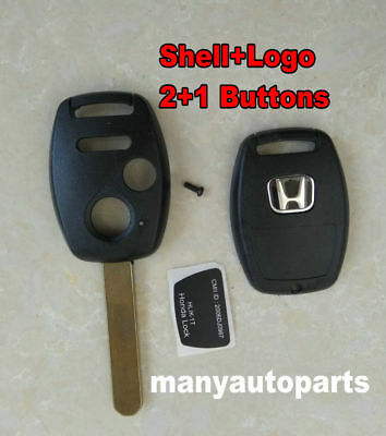 1*Uncut Blade Replacement Keyless Remote Shell Case Key FOB For Honda 2+1 Button