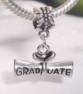 Graduate Diploma Graduation Gift Dangle Bead for Silver European Charm Bracelets
