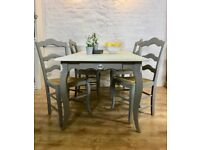 French Grey Dining Table and Chairs