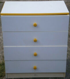 USED STURDY CONDITION, A NICE YELLOW/WHITE EFFECT CHEST OF 4