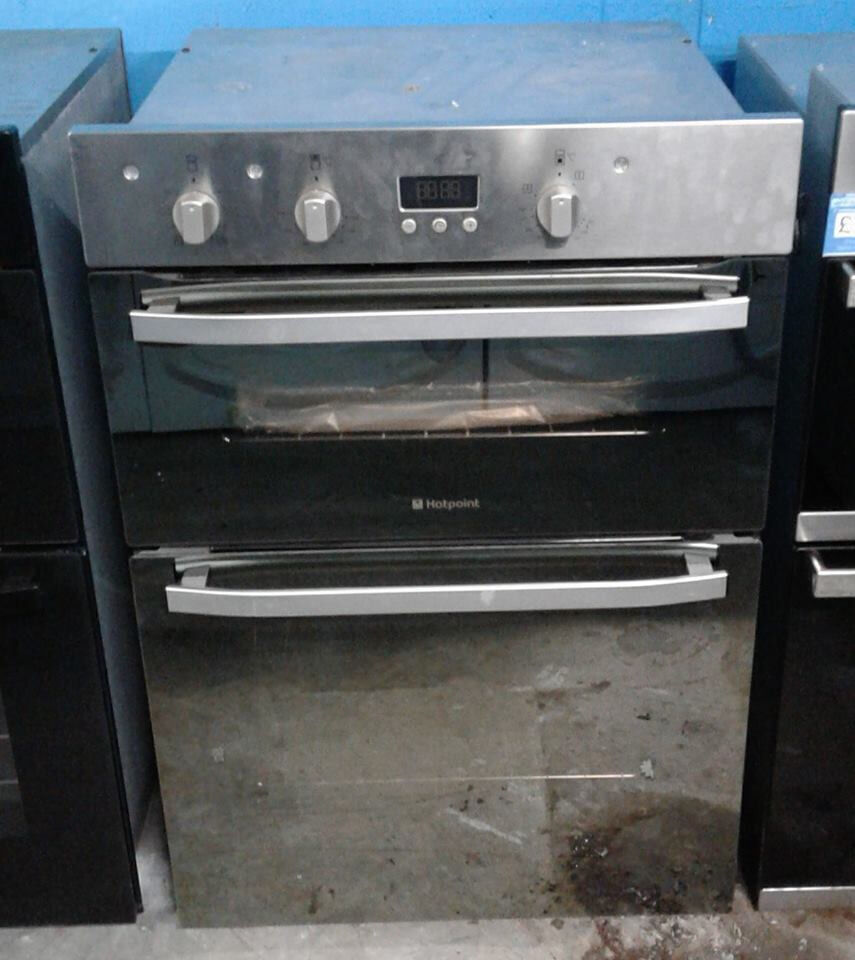 AA516 stainless steel & mirror finish hotpoint double integrated electric oven new with warranty