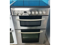m502 stainless steel indesit 60cm double oven gas cooker comes with warranty can be delivered