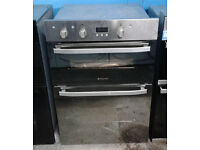 o516 stainless steel & mirror finish hotpoint double integrated electric oven new with warranty